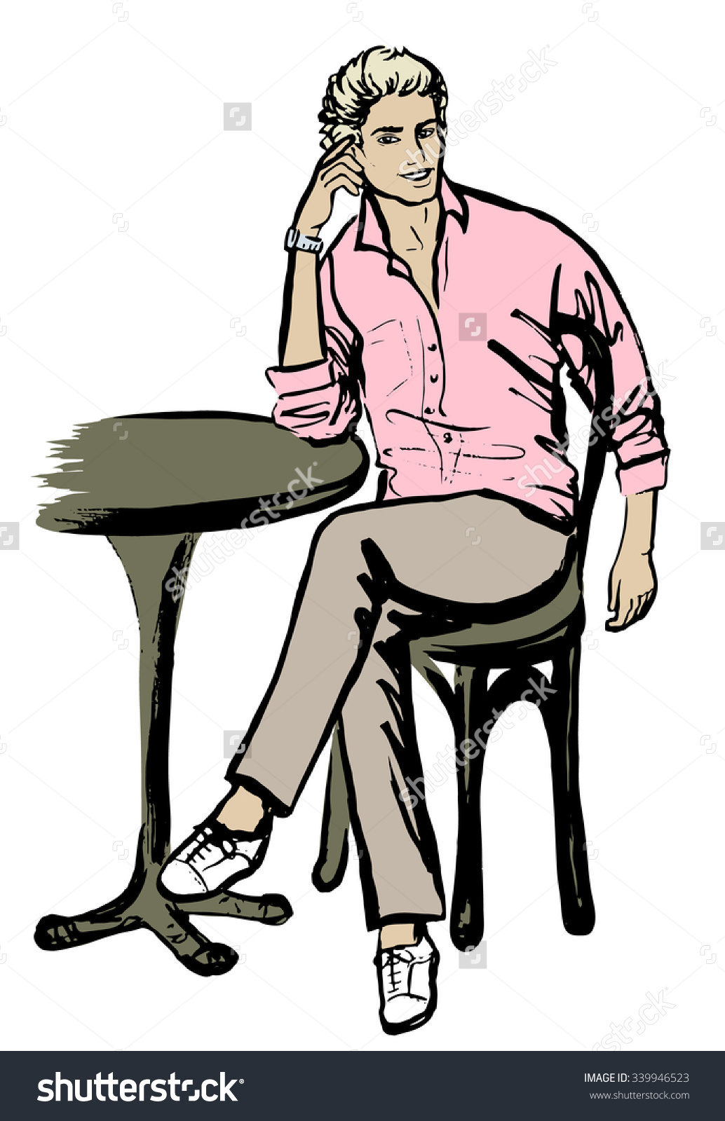 Fashion Sketch Man Sitting Cafe Ink Stock Vector 339946523.