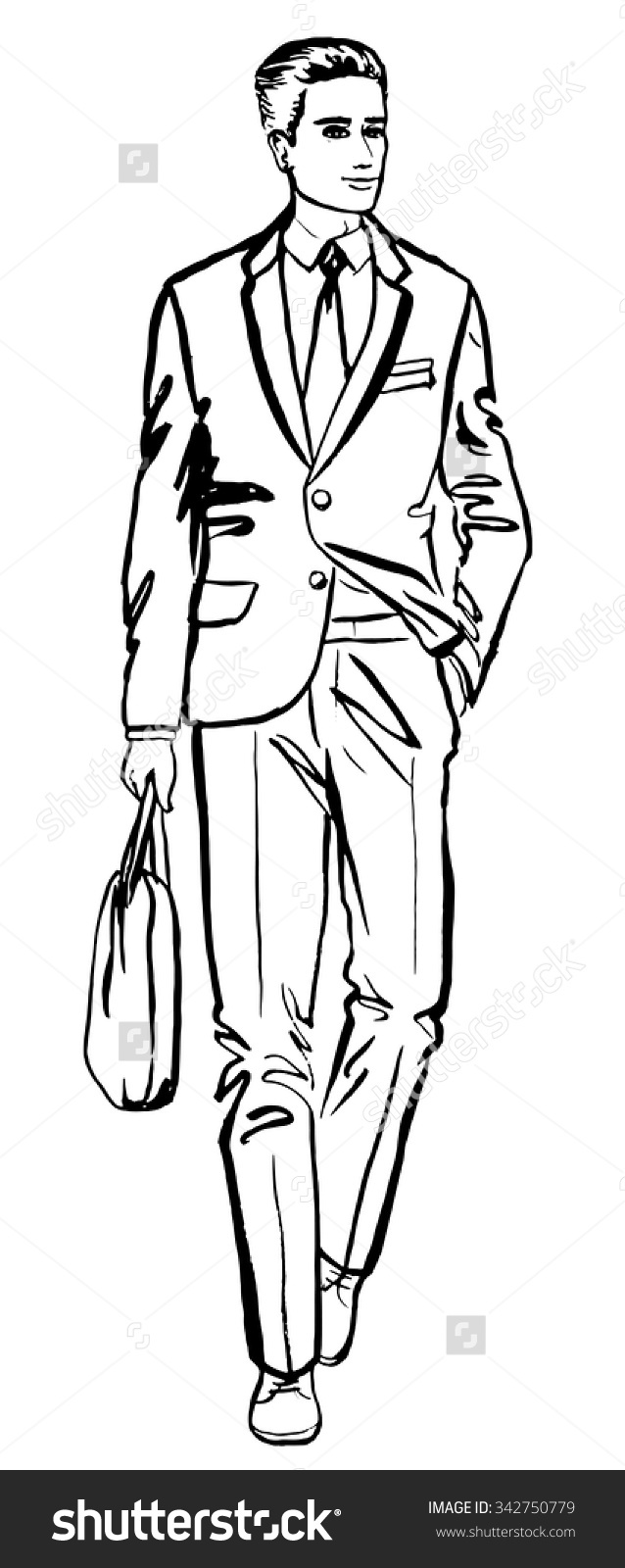 Fashion Illustration Business Man Hand Drawn Stock Vector.