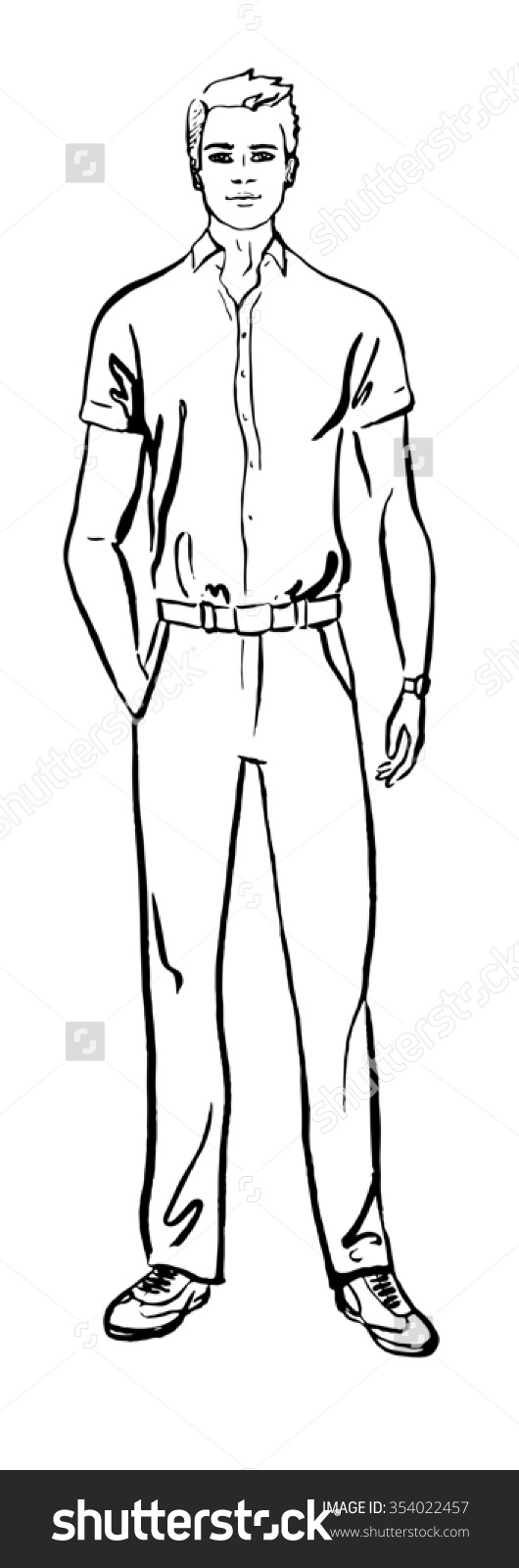 Fashion Illustration Man Hand Drawn Ink Stock Illustration.
