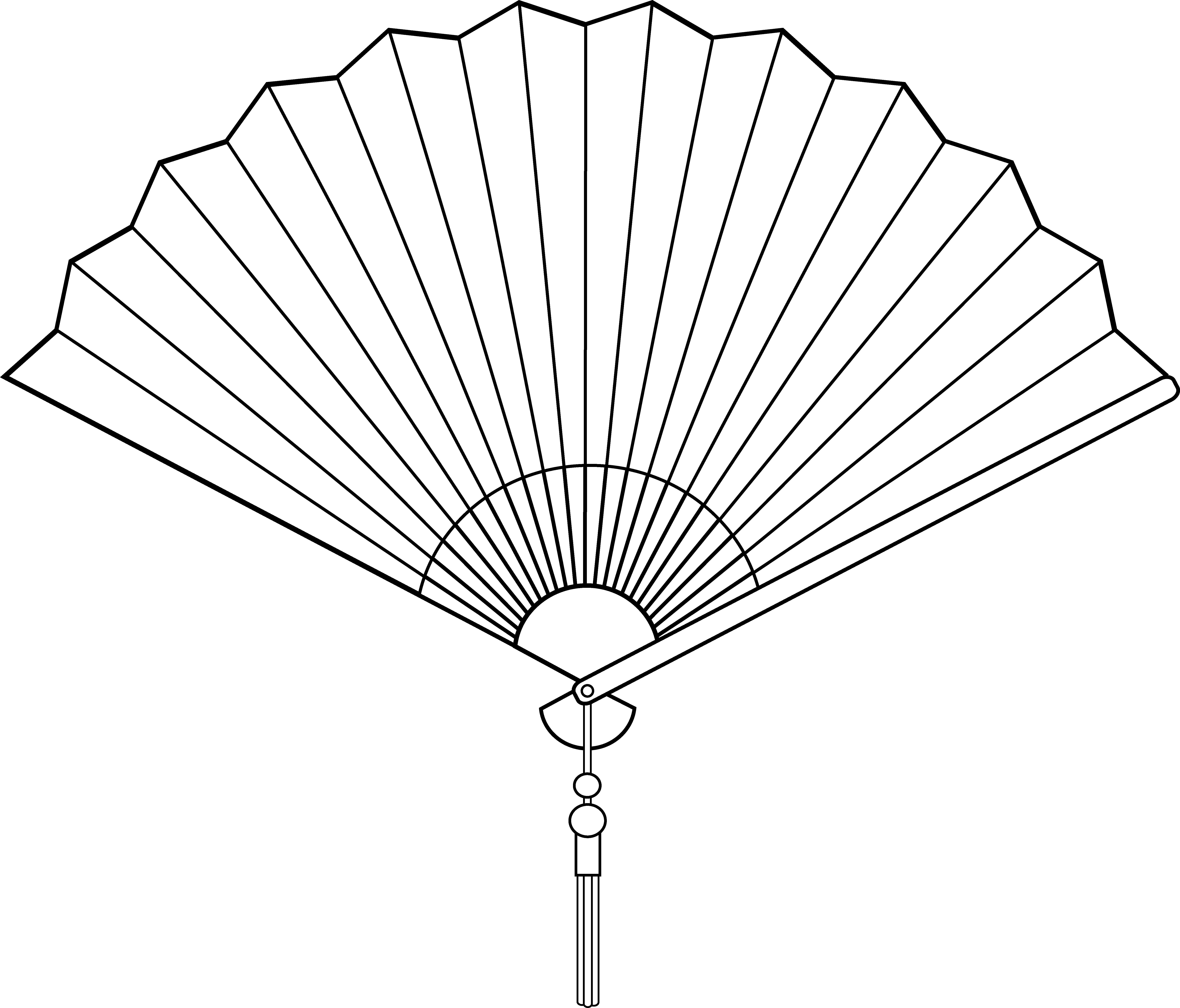Chinese Fan Line Art.