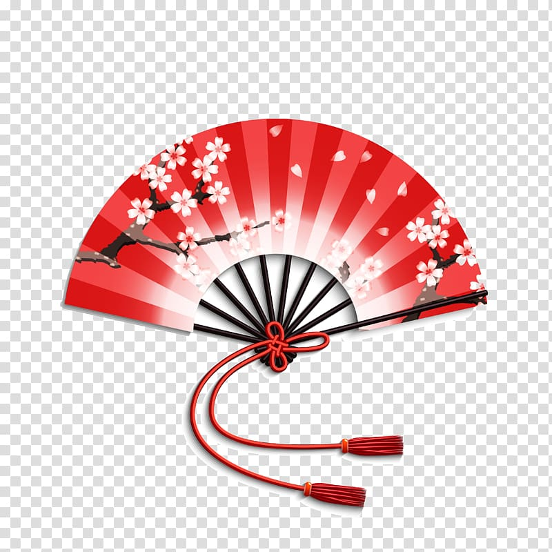 Red, white, and black floral hand fan, 4 Pics 1 Word Japan.