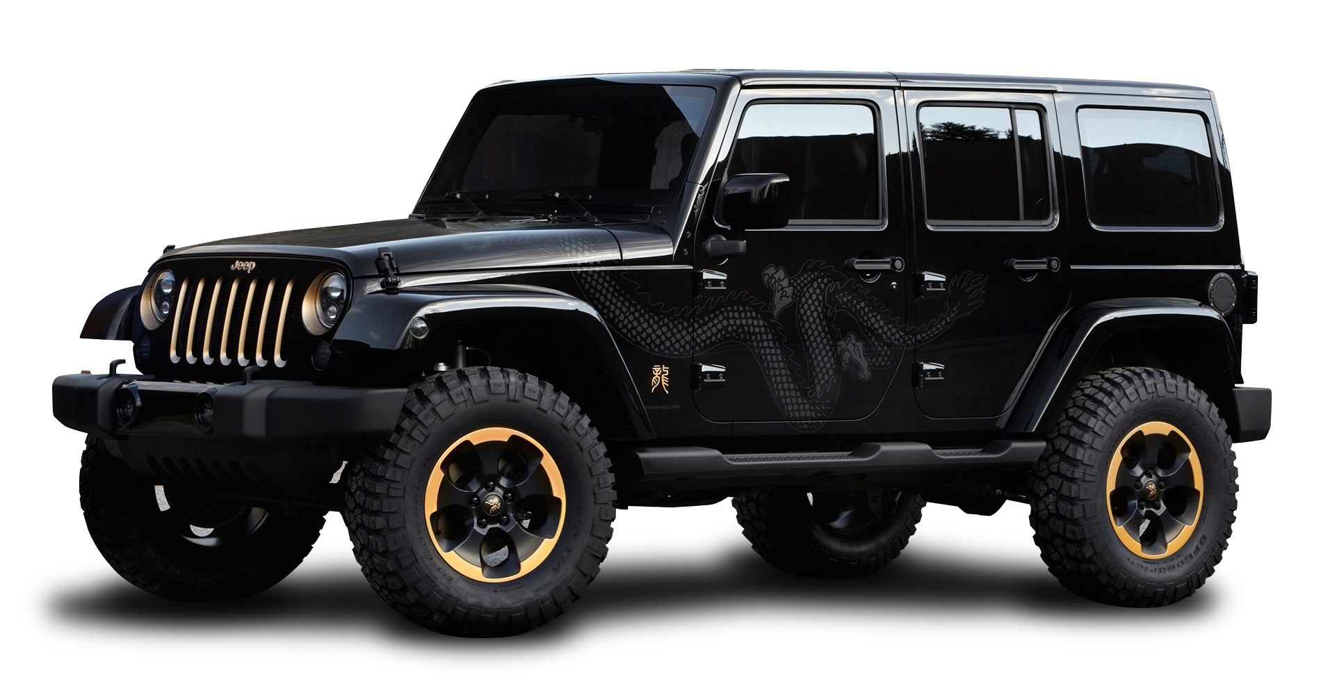 Black Jeep Wrangler Dragon Edition Car PNG Image.