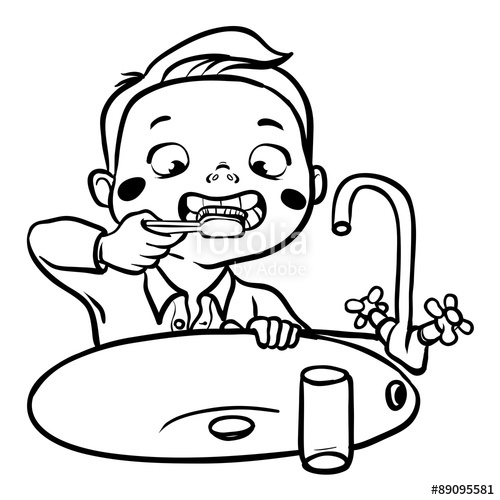 1352 Brushing Teeth free clipart.
