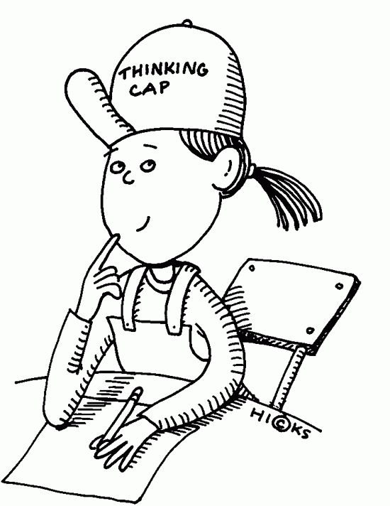 Black Student Thinking Clipart.