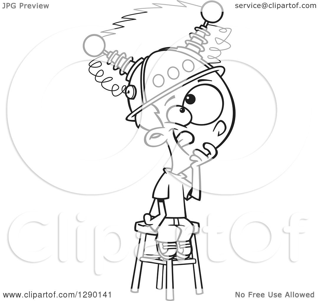 Cartoon Clipart of a Black and White Boy Sitting on a Stool.