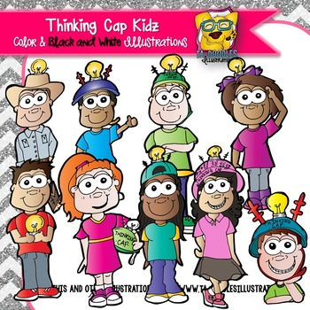 Kids with Thinking Caps Commercial Use Clipart.