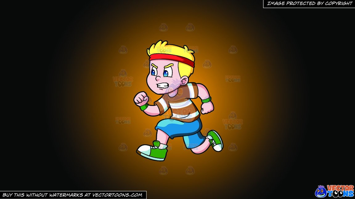 Clipart: A Boy Running Fast To Win An Athletics Race on a Orange And Black  Gradient Background.