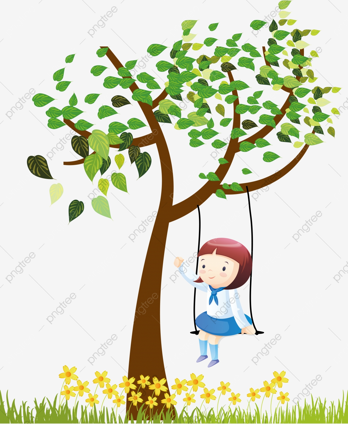 Black And White Tree Swing Kids, Tree Clipart, Kids Clipart.
