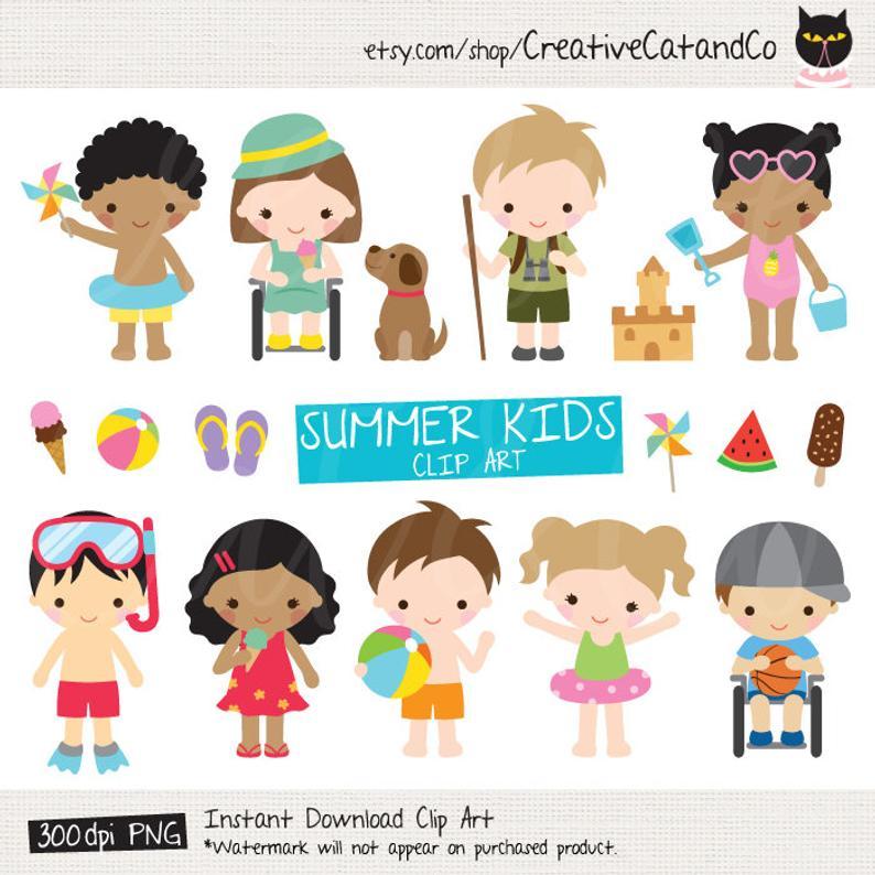 Summer Kids Clipart Kid Activities Clip Art African American Black Kids on  the Beach Disabled Kids in Wheelchair Children Clipart Clip Art.