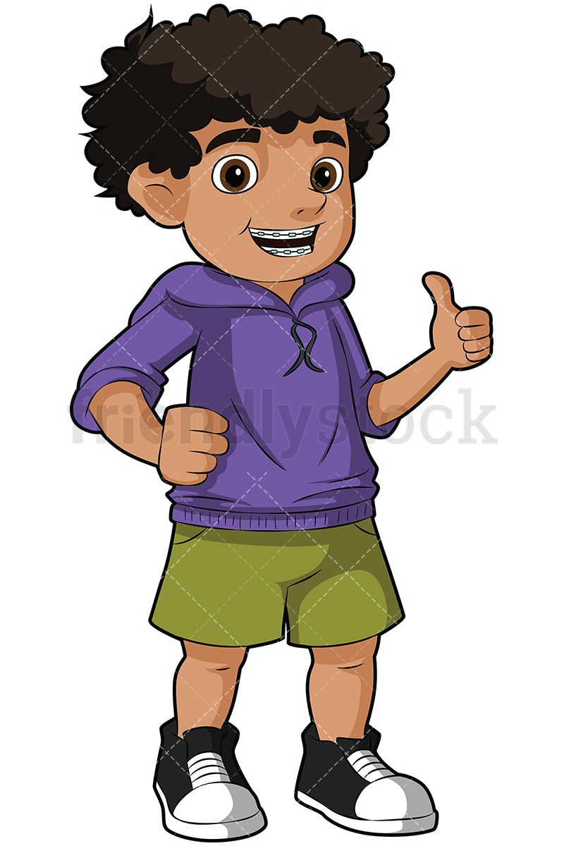 Black Boy Wearing Braces Giving The Thumbs Up.