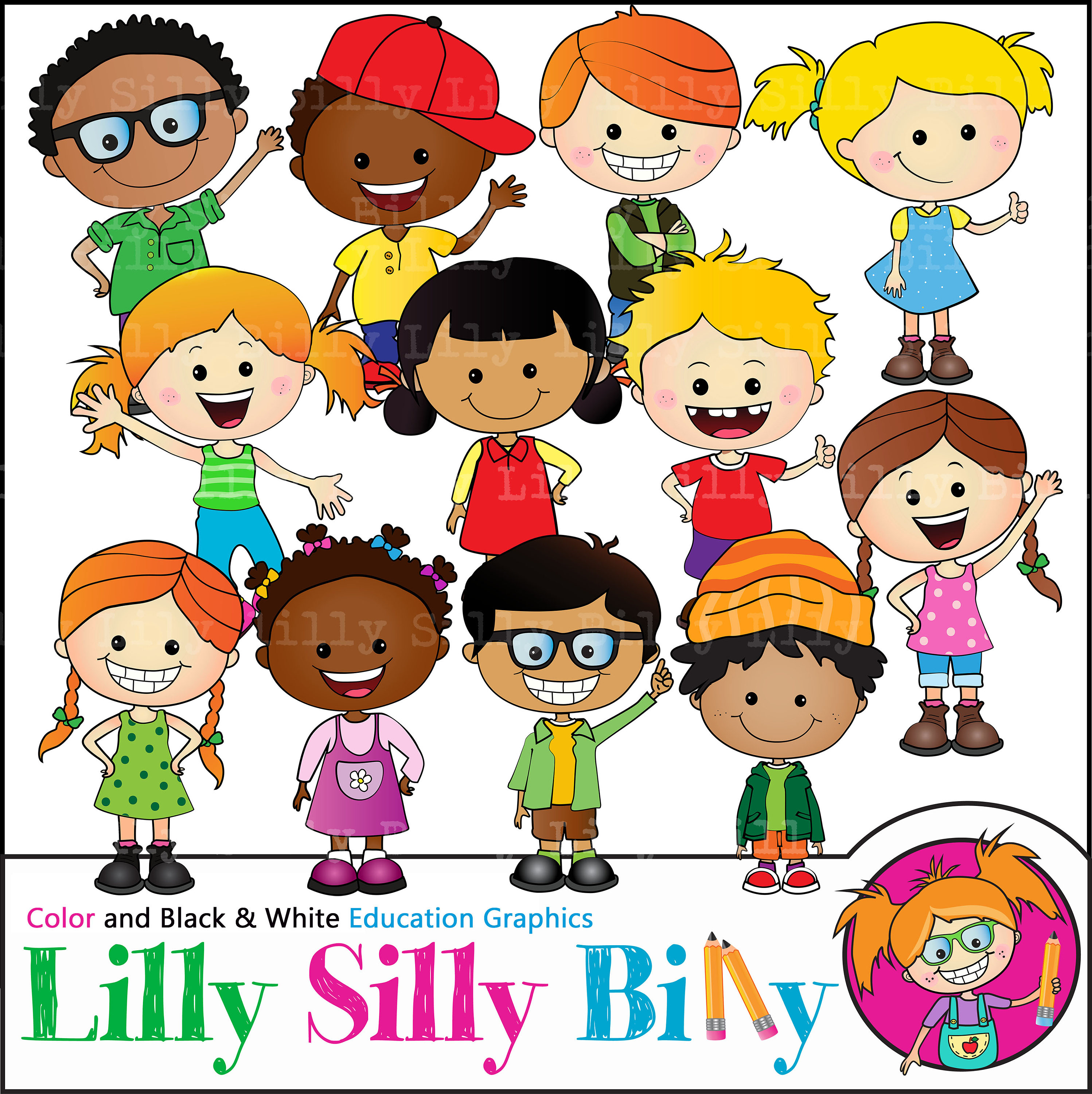 Happy Kids Clipart. BLACK and WHITE and COLOR. Education graphics of  children of diverse nationalities. Teacher and school clipart..