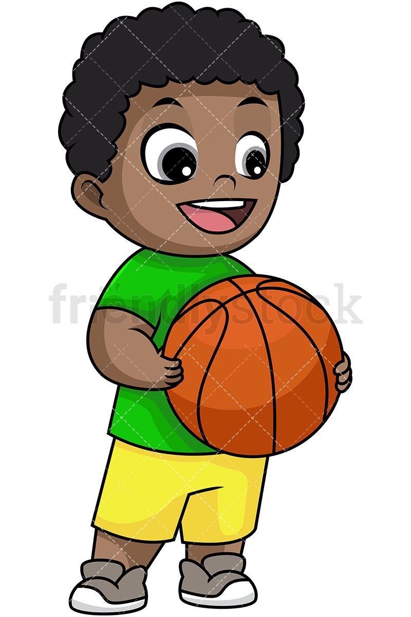 Happy Black Boy Holding Basketball.