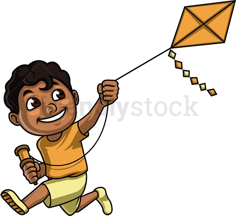 Black Kid With Kite.