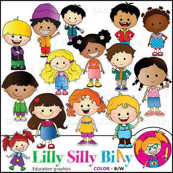 Just Kids. Clipart. BLACK AND WHITE & Color Bundle. {Lilly Silly Billy}.