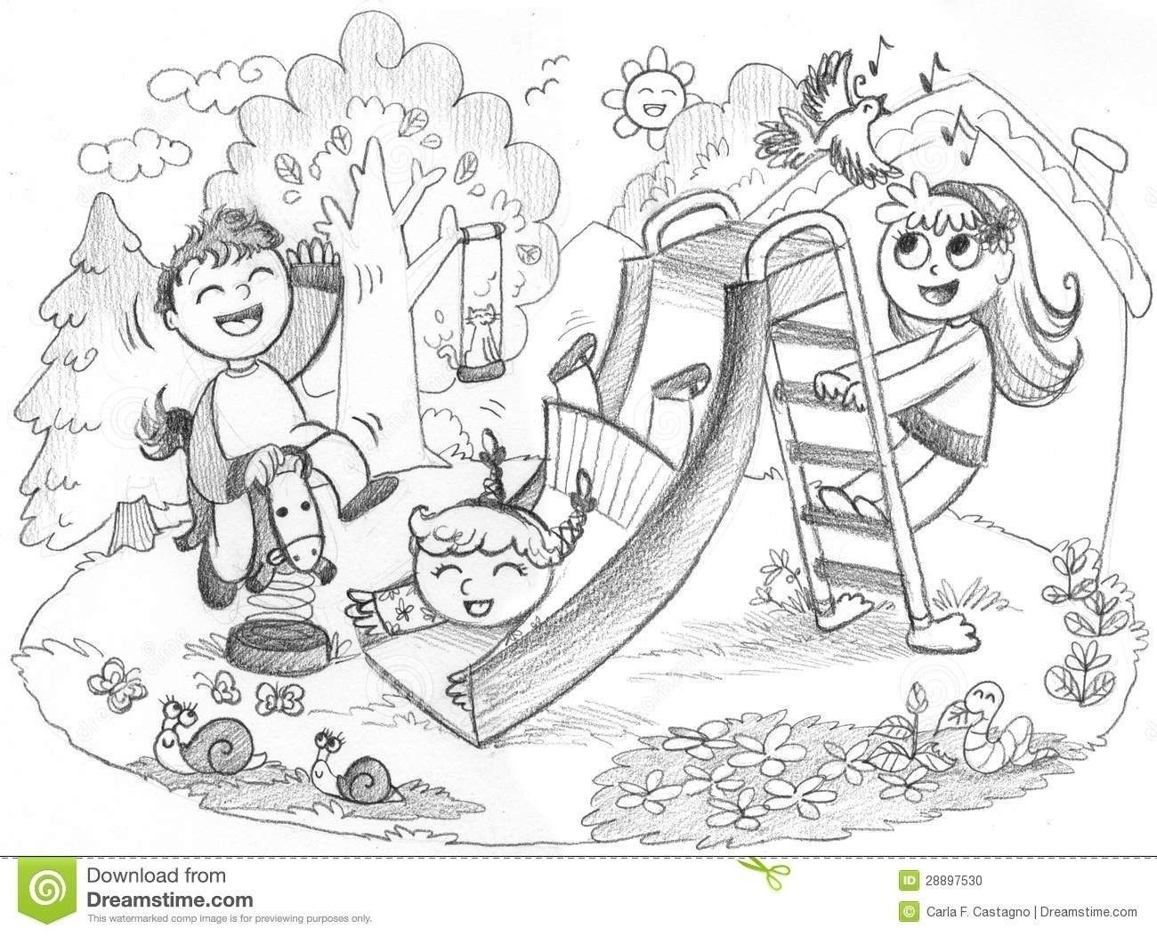Kids Playing Outside Clipart Black And White.