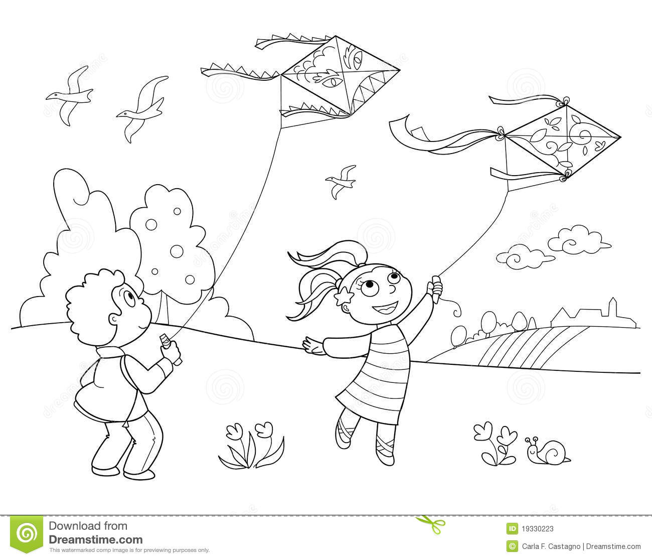 Children Playing Outside Clipart Black And White.
