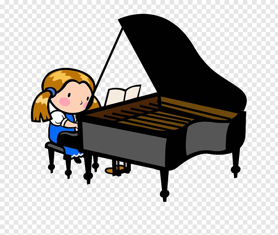 Girl playing piano, Piano Cartoon Child graphy Illustration.