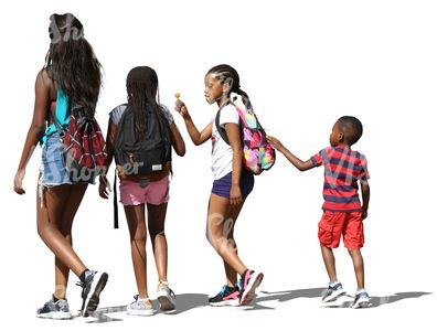 Four black children of different ages walking side by side.