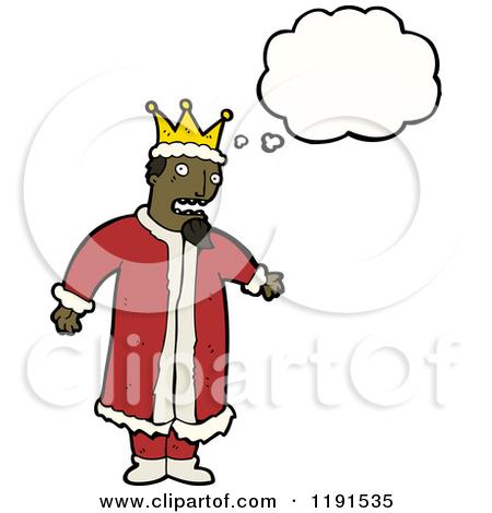 Cartoon of a Black King Thinking.