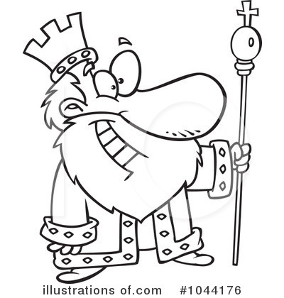 Cute black and white king clipart.
