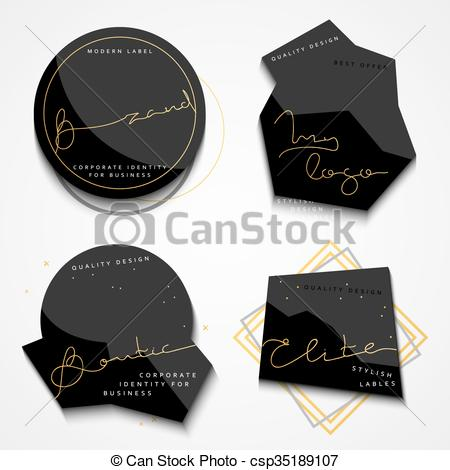 Set 4 black label with gold text. Stylish realistic labels.