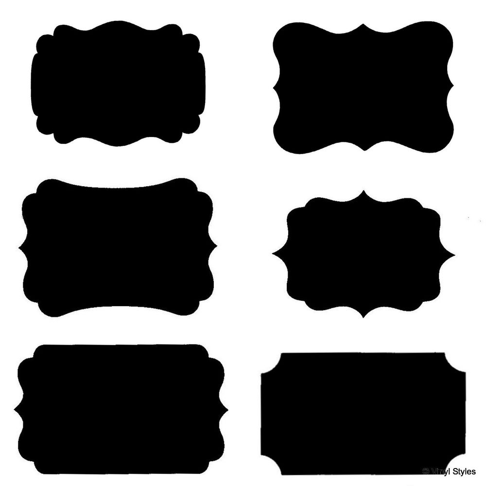 Black label clipart with outline.