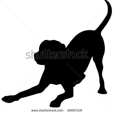 Dog at play Silhouette Clip Art.