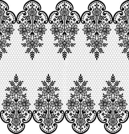 Seamless black lace borders vectors Free vector in.