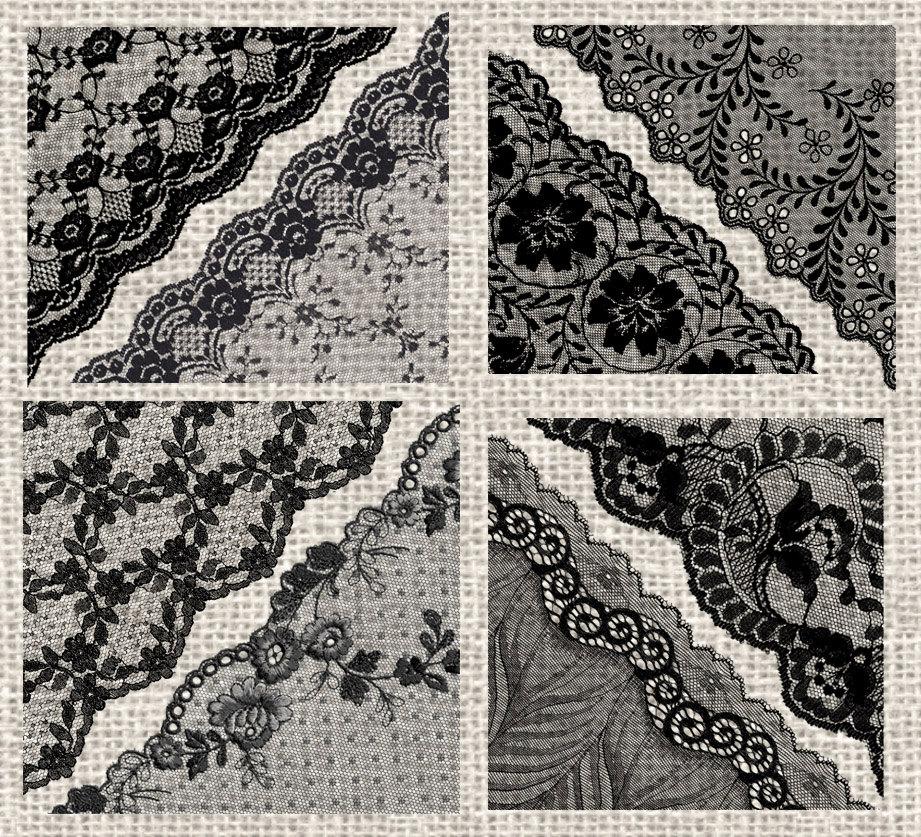 Black Lace Corners Clipart.
