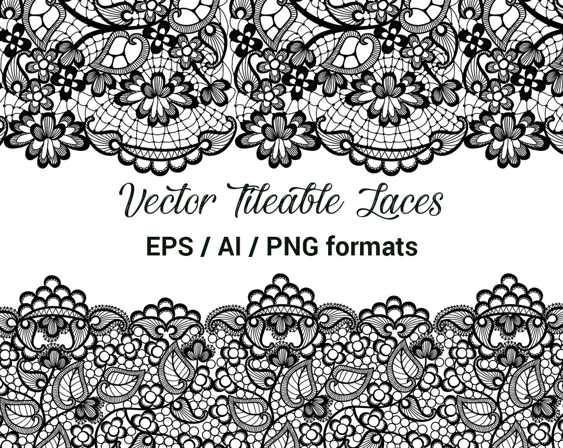 Seamless Vector Black Lace, Tileable Lace, Wedding Invitation Decor Clip  Art, Wedding Lace Clipart, Vector format AI, EPS..