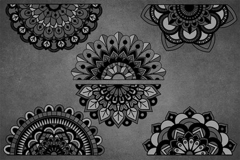 Black Lace Banners Clipart.
