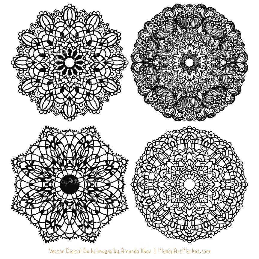 Black Round Lace Doily Vectors.