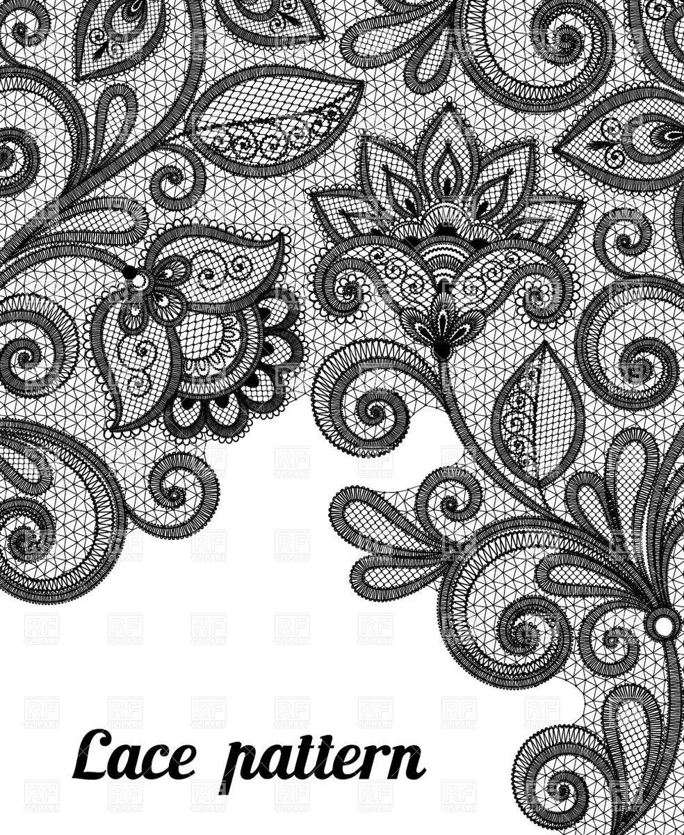 Floral black lace pattern Vector Image.