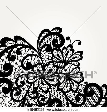 Black vector lace corner Clipart.