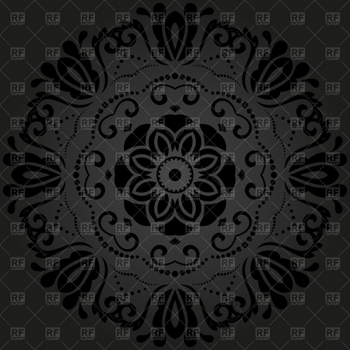 Floral damask black lace Stock Vector Image.