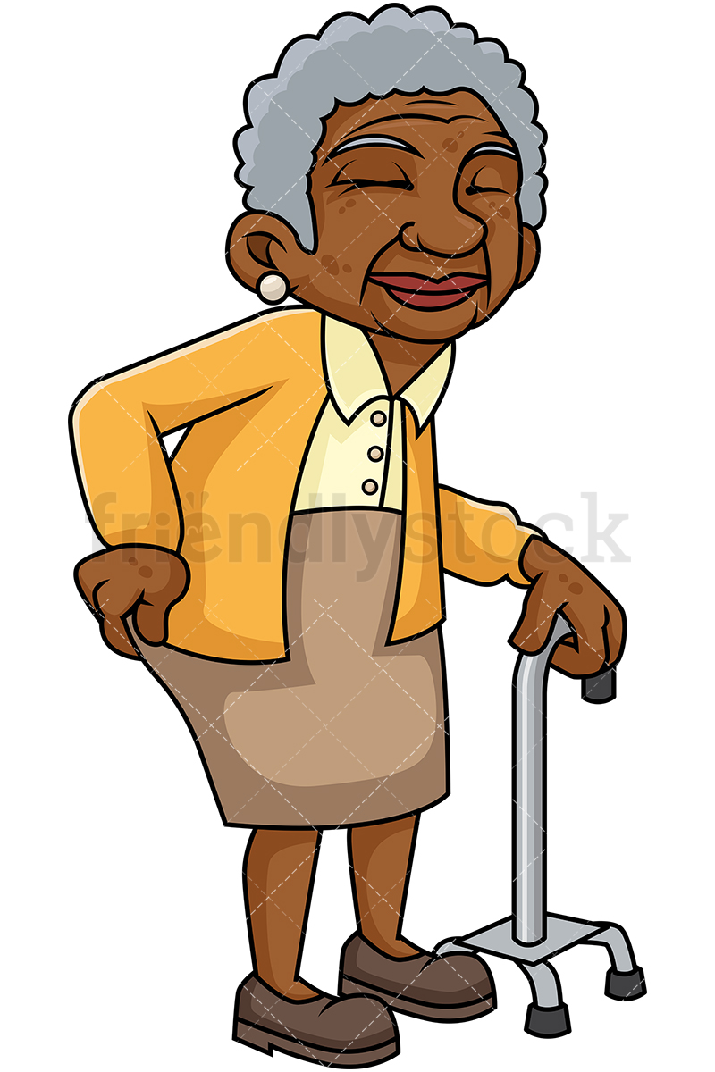 Black Old Woman With Hip Pain And Walking Stick.
