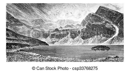 Stock Illustrations of Gasienica Black Lake in Koscielec Valley in.