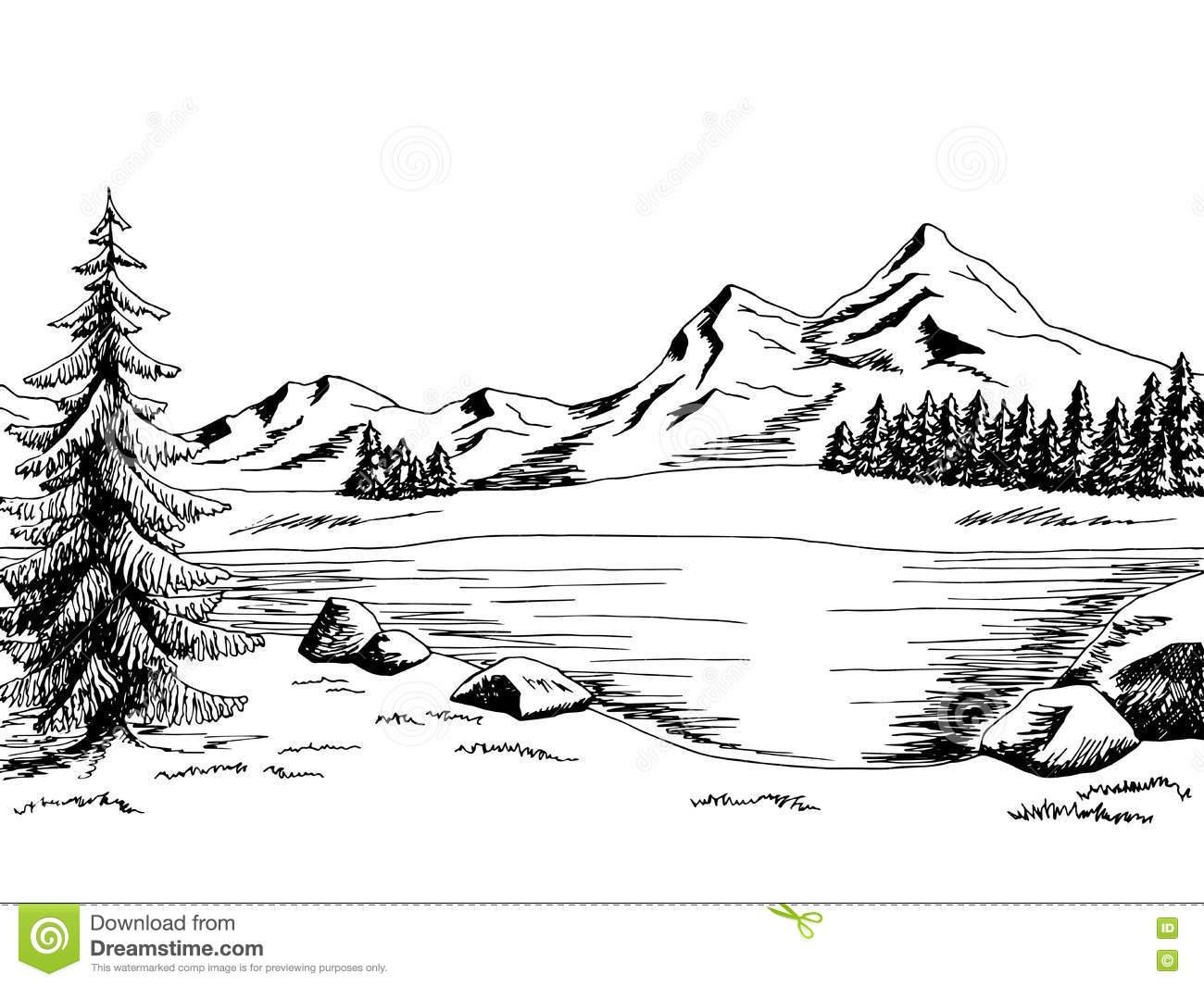 Mountain Lake Graphic Art Black White Landscape Illustration Stock.