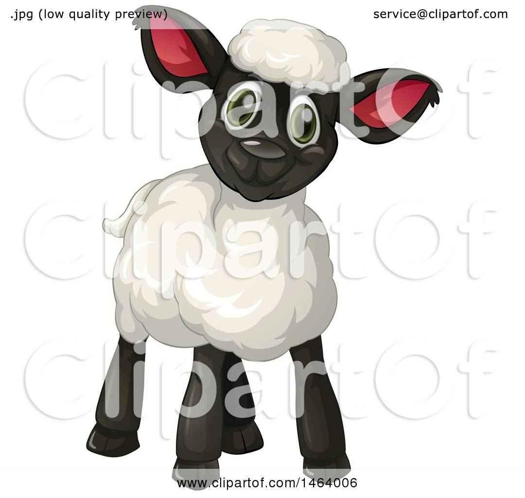 Clipart of a Cute Black Lamb.