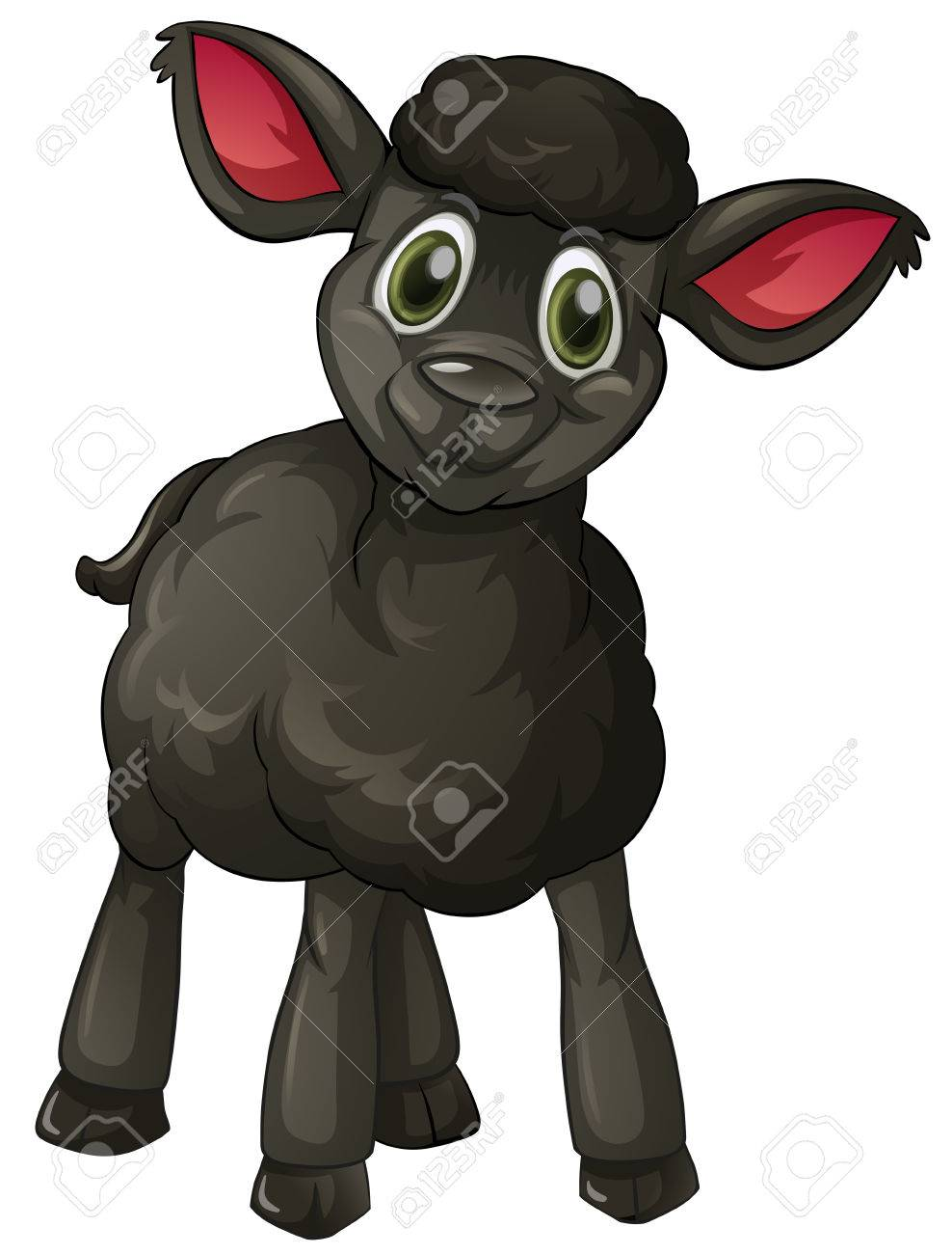 Black lamb with happy face illustration.