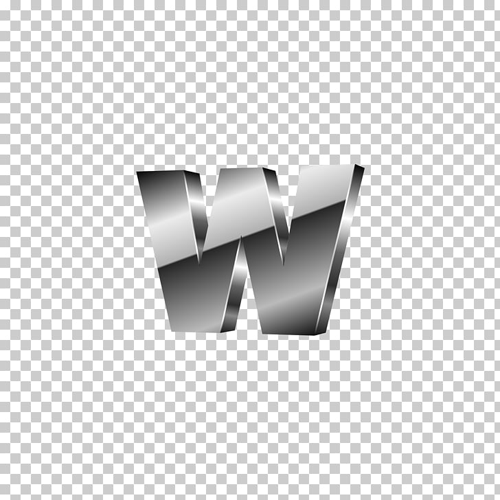 Letter W, Silver Black Solid letter W PNG clipart.