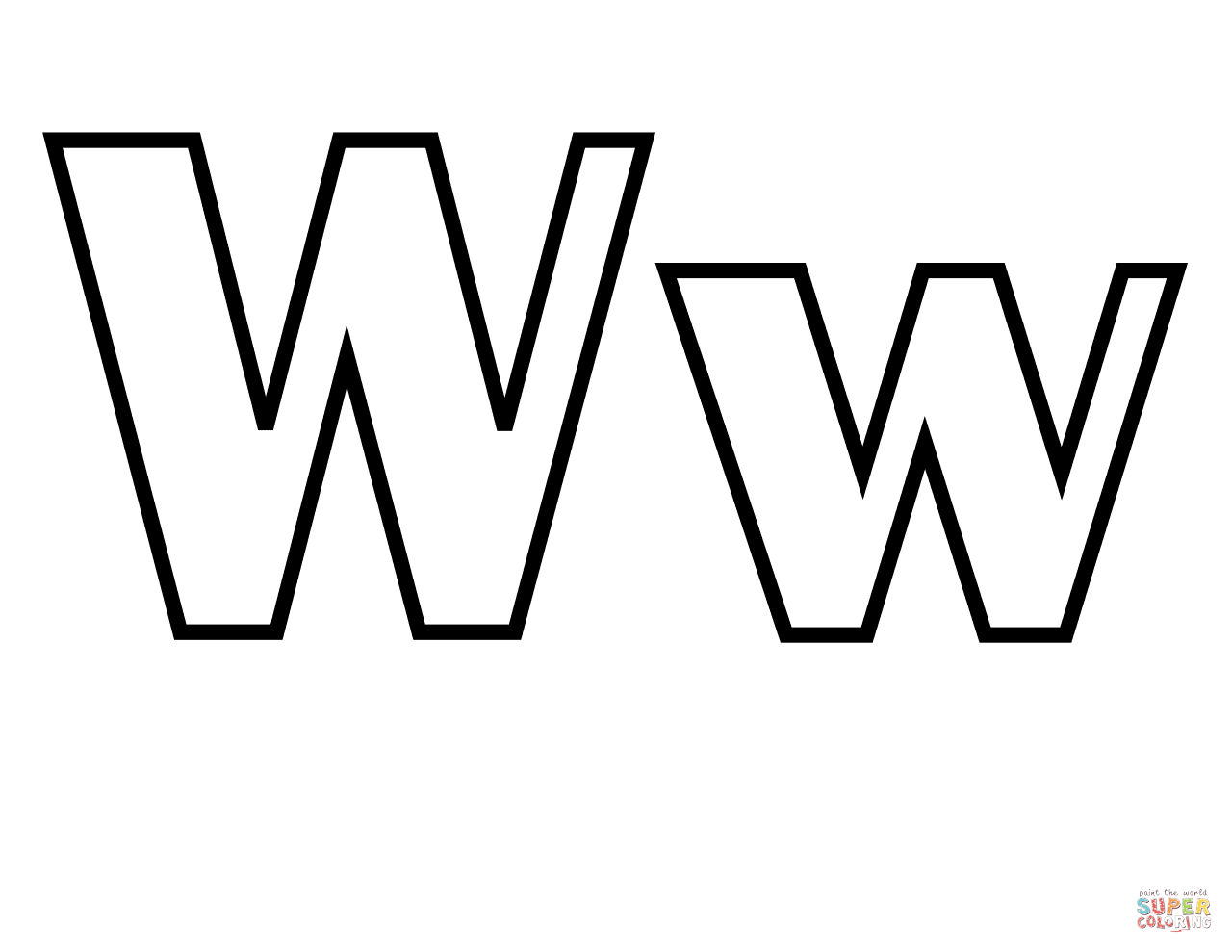 Letter W Clipart Black And White.