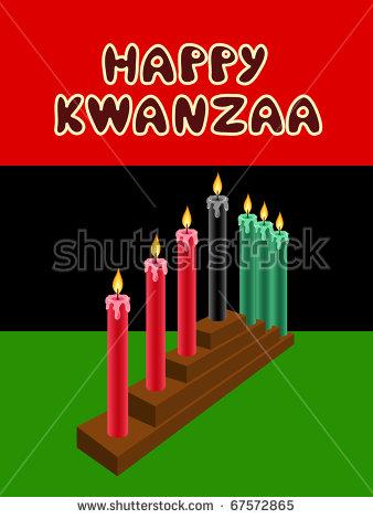 Kwanzaa Kinara With The Black Liberation Flag As Backdrop Stock.