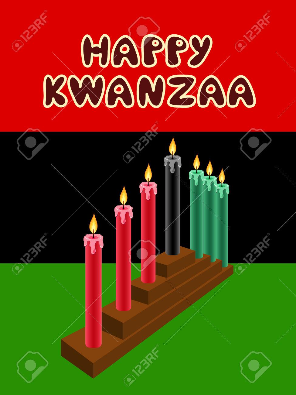 Kwanzaa Kinara With The Black Liberation Flag As Backdrop Royalty.