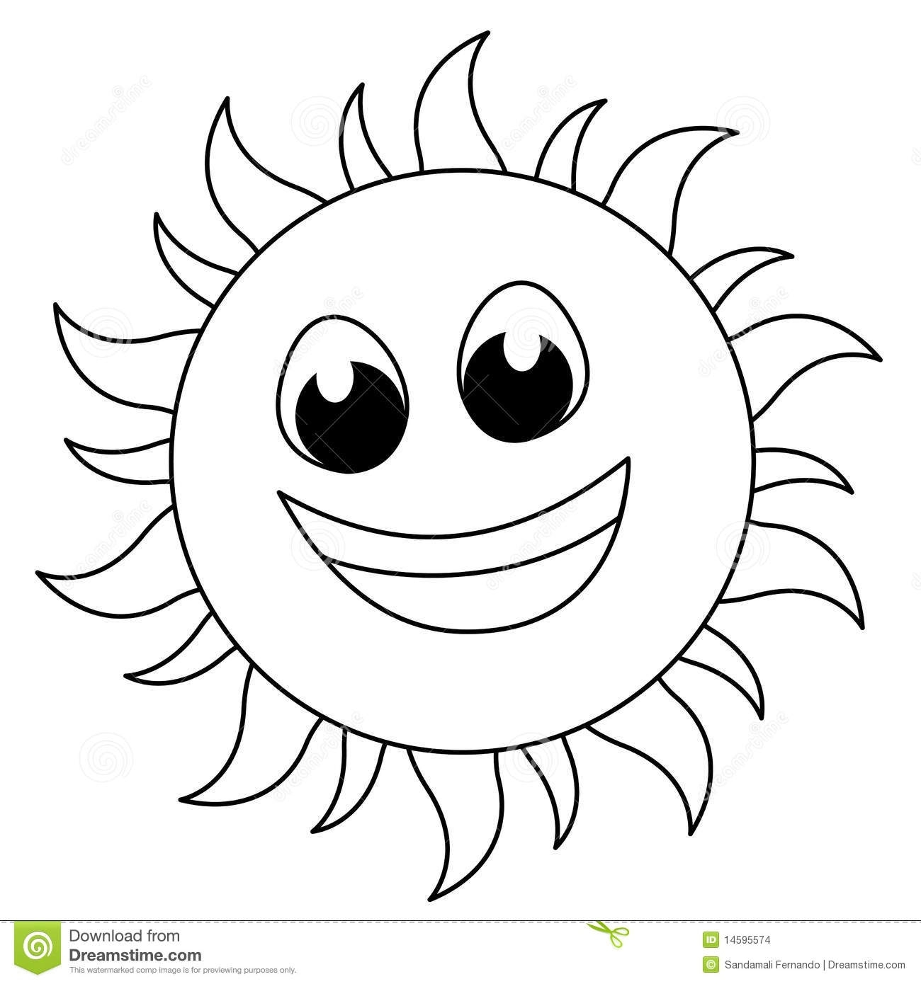 Smiling Sun Clipart Black And White.