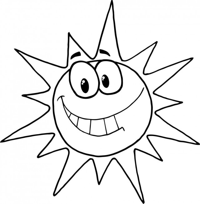 Smiling Sun Clip Art Black And White.