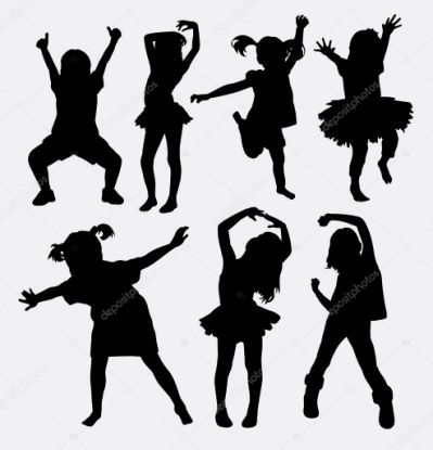 Silhouette Of A Little Girl Dancing.