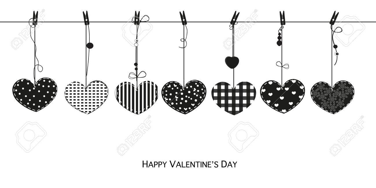 Happy Valentines Day card with hanging black Love Valentines...