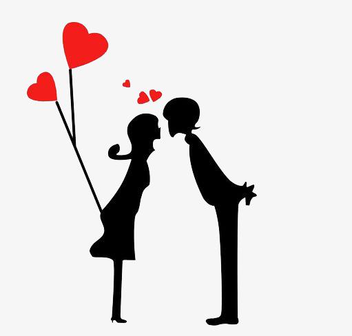 Loving Couple, Conjugal Love, Lovers, Black PNG Transparent Image.