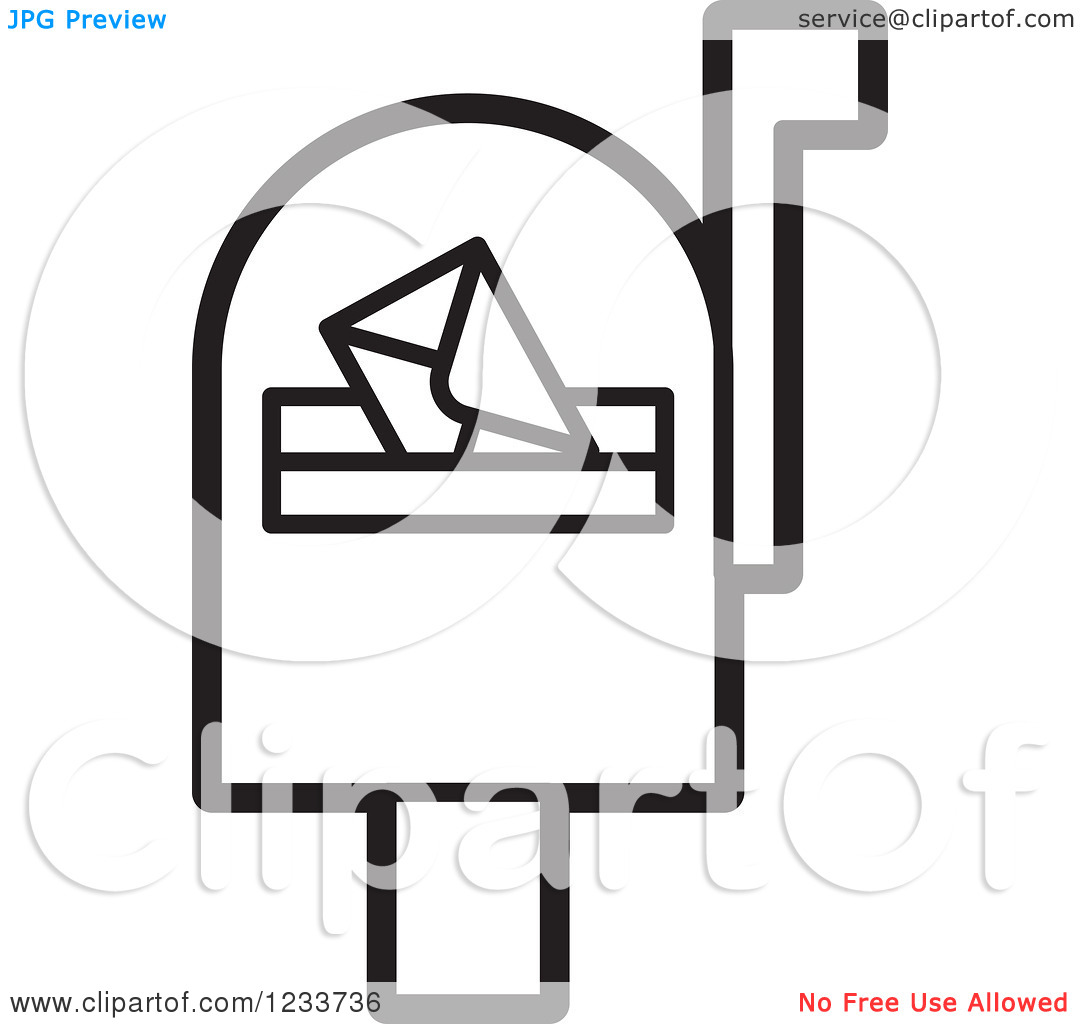 Clipart of a Black and White Mailbox with an Envelope.